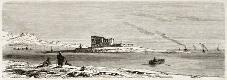Suez European cemetery old view. Created by Girardet after Lejean, published on Le Tour du Monde, Paris, 1860