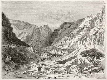 african ancestry: Fezzan landscape old illustration. Created by Lancelot after Barth, published on Le Tour du Monde, Paris, 1860