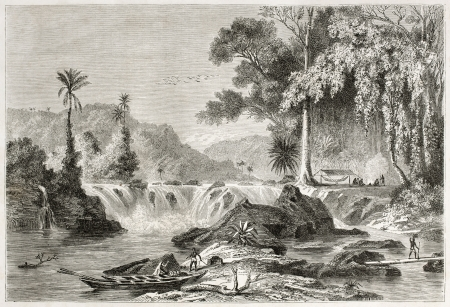 Cataract in British Guyana, old view. Created by De Berard, published on Le Tour du Monde, Paris, 1860