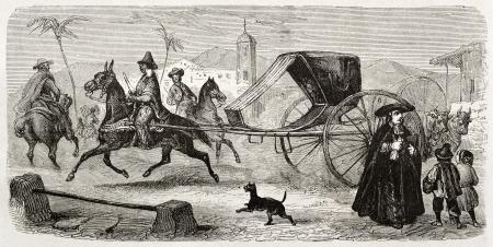 gig: Havana gig old illustration. Created by Adam, published on Le Tour du Monde, Paris, 1860  Editorial
