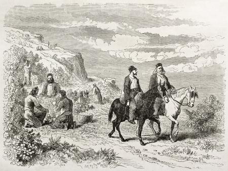 parapente: Avellana recolección en el monte Athos, ilustración edad. Creado por Villevieille después de Proust, publicado en Le Tour du Monde, París, 1860 Editorial