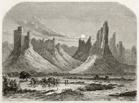african ancestry: Hombori mountains old view. Created by Lancelot after Barth, published on Le Tour du Monde, Paris, 1860 Editorial