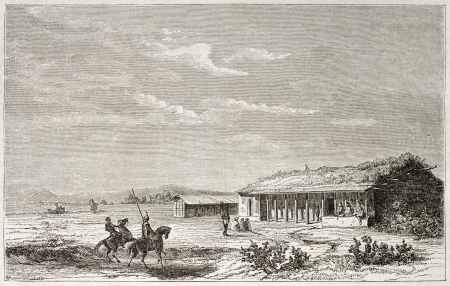 african ancestry: House in Tabora (formerly Kazeh) old illustration, capital city of Tanzania.  Created by Lavieille after Burton, published on Le Tour du Monde, Paris, 1860. Editorial