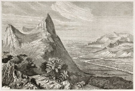 Irrawaddy valley old view, Burma. Created by Huet after Yule, published on Le Tour du Monde, Paris, 1860