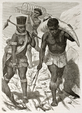 African ivory bearer old illustration. Created by Boulanger after Burton, published on Le Tour du Monde, Paris, 1860.