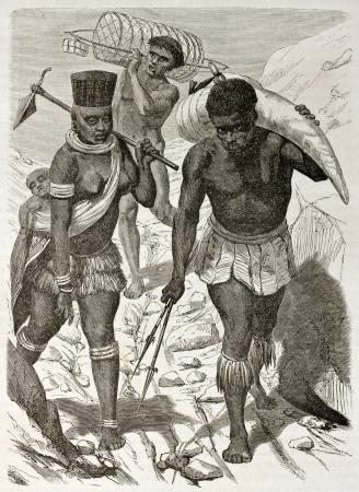 ivory: African ivory bearer old illustration. Created by Boulanger after Burton, published on Le Tour du Monde, Paris, 1860.