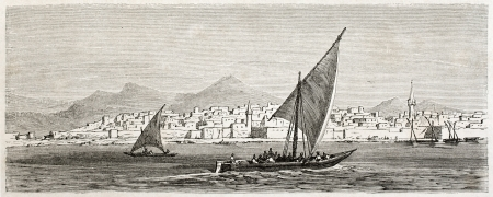 Jeddah old view, Saudi Arabia. Created by Girardet after Lejean, published on Le Tour du Monde, Paris, 1860