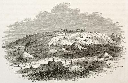 african ancestry: Jihoue la Mkoa old view, Zanzibar. Created by Burton, published on Le Tour du Monde, Paris, 1860 Editorial