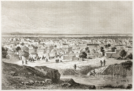 african ancestry: Kano old view, Nigeria. Created by Lancelot after Barth, published on Le Tour du Monde, Paris, 1860  Editorial