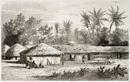 african ancestry: Kaouele village old view, Tanzania. Created by Lavieille after Burton, published on Le Tour du Monde, Paris, 1860. Editorial