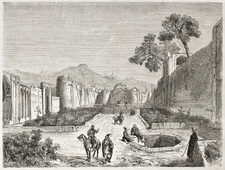 asian ancestry: Kashan old view, Persia. Created by Laurens, published on Le Tour du Monde, Paris, 1860 Editorial