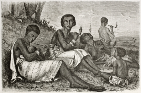 Women in Kazeh (nowadays Tabora), Tanzania. Created by Boulanger after Burton, published on Le Tour du Monde, Paris, 1860