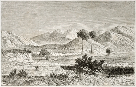 Kisanga region old view, Congo. Created by Lavieille after Burton, published on Le Tour du Monde, Paris, 1860.