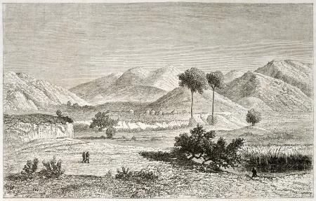 african ancestry: Kisanga region old view, Congo. Created by Lavieille after Burton, published on Le Tour du Monde, Paris, 1860.