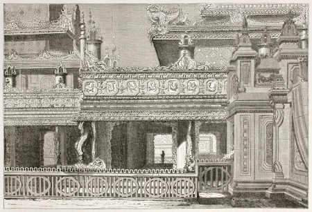 asian ancestry: Maha Comiye Peima architectonic detail: old illustration of antique edifice in Amarapura, Burma. Created by Navlet after Yule, published on Le Tour du Monde, Paris, 1860
