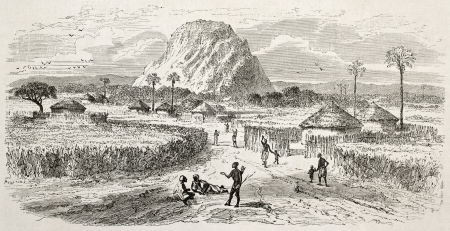 african ancestry: Marghi village old illustration, central Africa. Created by Rouargue after Barth, published on Le Tour du Monde, Paris, 1860