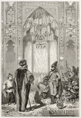 Men in a courtyard in Teheran, old illustration. Created by Laurens, published on Le Tour du Monde, Paris, 1860   Stock Photo - 15080460