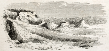eruptive: Minbu mud volcanoes old illustration, Burma. Created by Yule, published on Le Tour du Monde, Paris, 1860