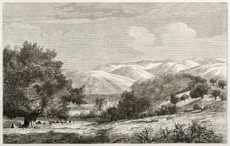 african ancestry: Mororo Basin old illustration, Equatorial Africa. Created by Lavieille after Burton, published on Le Tour du Monde, Paris, 1860