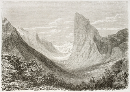 aiguille: Mount Aiguille old view from Clelles, France. Created by Daubigny after Muston, published on Le Tour du Monde, Paris, 1860