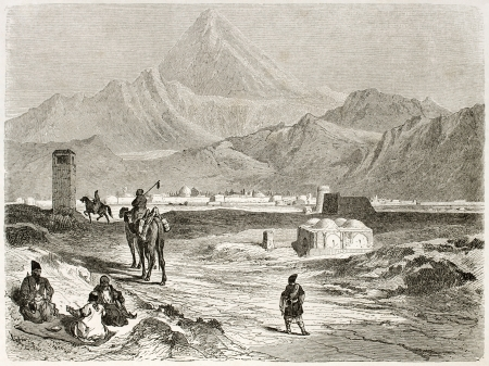 asian ancestry: Mount Damavand old view, Iran. Created by Laurens, published on Le Tour du Monde, Paris, 1860 Editorial