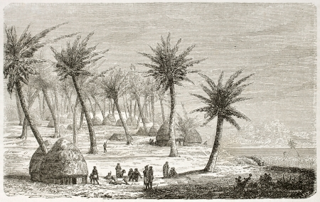 Village in Mrima region, old view, Eastern Africa. Created by Lavielle after Burton, published on Le Tour du Monde, Paris, 1860