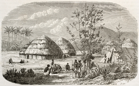 Msene village old view, Tanzania. Created by Lavieille after Burton, published on Le Tour du Monde, Paris, 1860