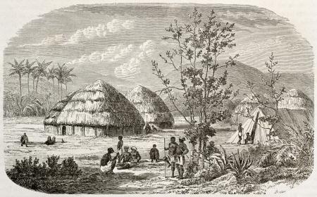 Msene village old view, Tanzania. Created by Lavieille after Burton, published on Le Tour du Monde, Paris, 1860  Stock Photo - 15080347