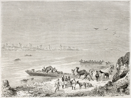 ferrying: Niger river ferry, old illustration. Created by Rouargue after Barth, published on Le Tour du Monde, Paris, 1860
