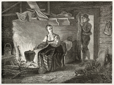 Norwegian costumes in Hitterdal (Heddal), old illustration. Created by Pelcoq, published on Le Tour du Monde, Paris, 1860 Editorial