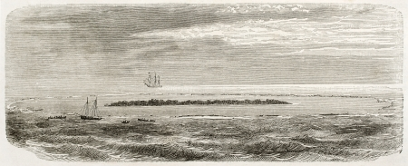 pitcairn: Oeno island old view, coral atoll in South Pacific Ocean. Created by De Berard, after Smyth, published on Le Tour du Monde, Paris, 1860 Editorial