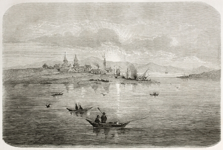 sea seaport: Okhotsk port old view, Russia. Created by Adam after Billings, published on Le Tour du Monde, Paris, 1860