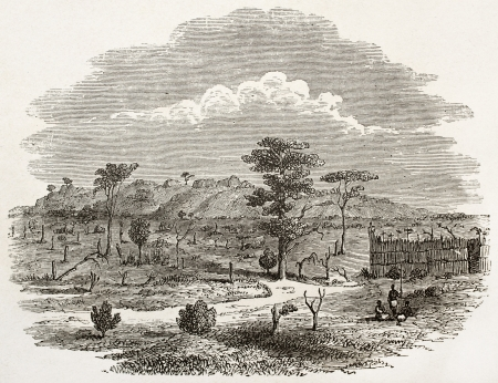 ancestry: Ougogo region old view, Tanzania. Created by Burton, published on Le Tour du Monde, Paris, 1860