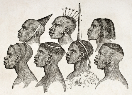 africa antique: Ounyanyembe people hairstyles old illustration (Tanzania). By unidentified author, published on Le Tour du Monde, Paris, 1860.