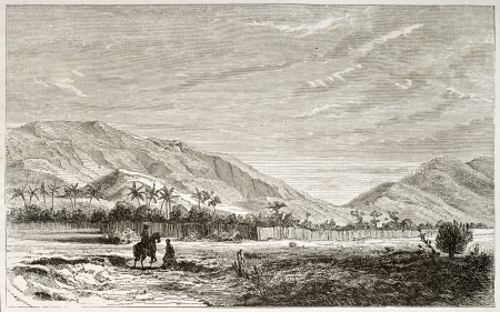 african ancestry: Ousagara region old view, eastern Africa. Created by Lavieille after Burton, published on Le Tour du Monde, Paris, 1860