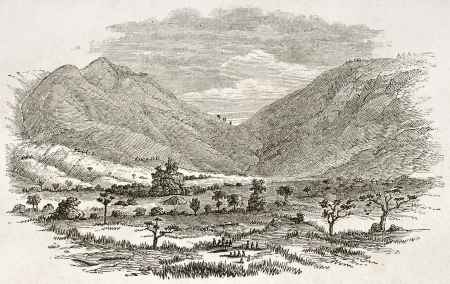 african ancestry: Ouzagara pass old view, Tanzania. Created by Burton, published on Le Tour du Monde, Paris, 1860. Editorial