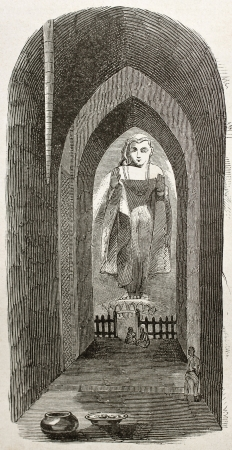 Pagoda interior in Burma, old illustration. By unidentified author, published on Le Tour du Monde, Paris, 1860 Stock Photo - 15080245