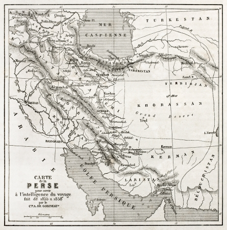 persian gulf: Persia old map. Created by Vuillemin, published on Le Tour du Monde, Paris, 1860  Editorial