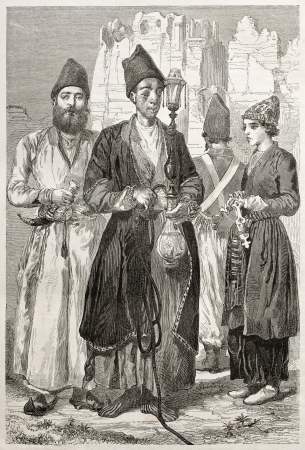 Persian men. Created by Laurens, published on Le Tour du Monde, Paris, 1860