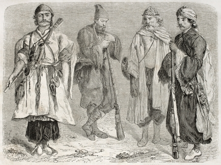 Persian men old illustration. Created by Laurens, published on Le Tour du Monde, Paris, 1860   Stock Photo - 15080356