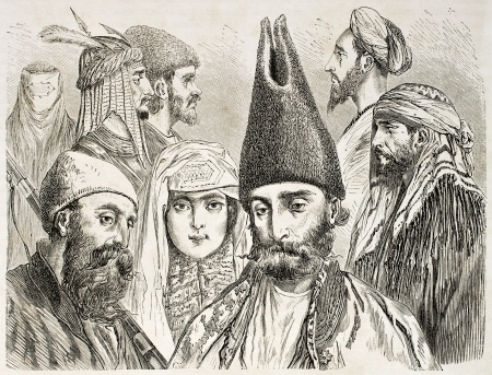 moorish clothing: Persian men and woman old illustration. Created by Laurens, published on Le Tour du Monde, Paris, 1860   Editorial