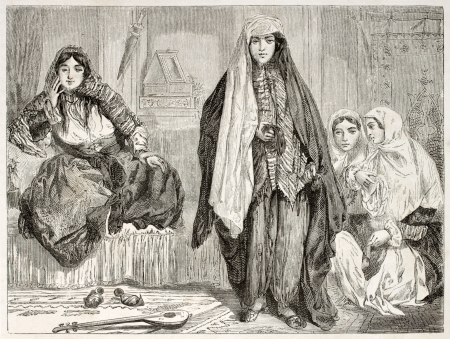 iranian: Persian women in traditional clothes. Created by Laurens, published on Le Tour du Monde, Paris, 1860
