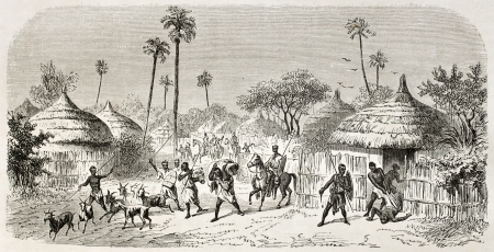 primitive: Raid in central African village, old illustration. Created by Rouargue after Barth, published on Le Tour du Monde, Paris, 1860 Editorial