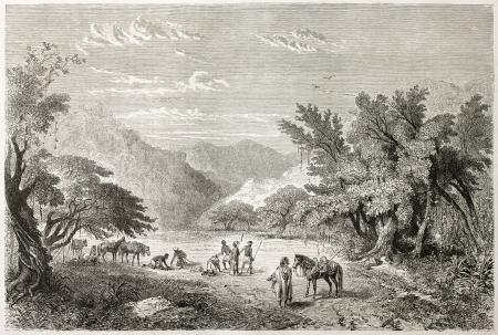 Caravan rest in Marghi forest, Nigeria.  Created by Rouargue after Barth, published on Le Tour du Monde, Paris, 1860