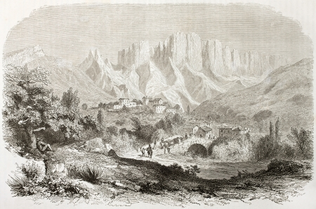 Roumeyer old view with Mount Glandaz in background, France. Created by Daubigny after Muston, published on Le Tour du Monde, Paris, 1860