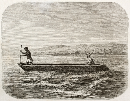 boatman: Boatman and passenger on lake Tanganyika, old illustration. Created by Lavieille after Burton, published on Le Tour du Monde, Paris, 1860