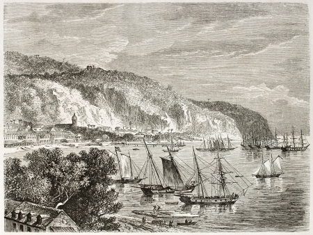 martinique: Saint Pierre old view, Martinique.  Created by De Berard, published on Le Tour du Monde, Paris, 1860