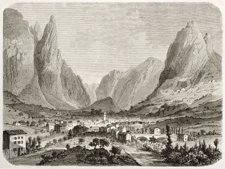 Saou village in the forest, old view, France. Created by Sabatier after Muston, published on Le Tour du Monde, Paris, 1860 Stock Photo - 15080434