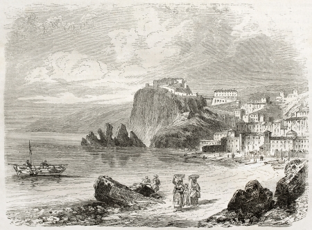 Scilla old view, Calabria, Italy. Created by Rouargue, published on Le Tour du Monde, Paris, 1860