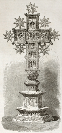 laconia: Sculpted Cross kept in Karyes monastery treasure, old illustration. Created by Therond after photo of unknown author, published on Le Tour du Monde, Paris, 1860